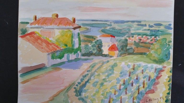 Provence Landscape, Panoramic View of a Riverside Vineyard Village by Louis Bellon (French 1908-1998) Signed lower right, dated 62 (1962) watercolour painting on paper, unframed measurements: 9.5 x 13 inches  provenance: private collection of the