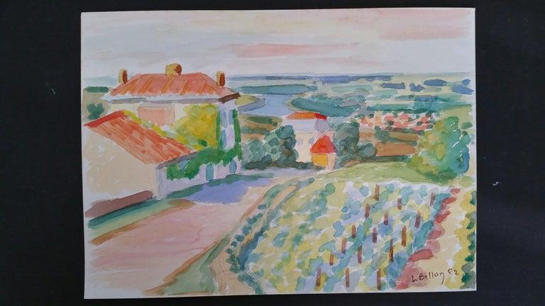 Provence Vineyard Village Landscape Post-Impressionist Signed 1962 Painting - Gray Landscape Art by Louis Bellon