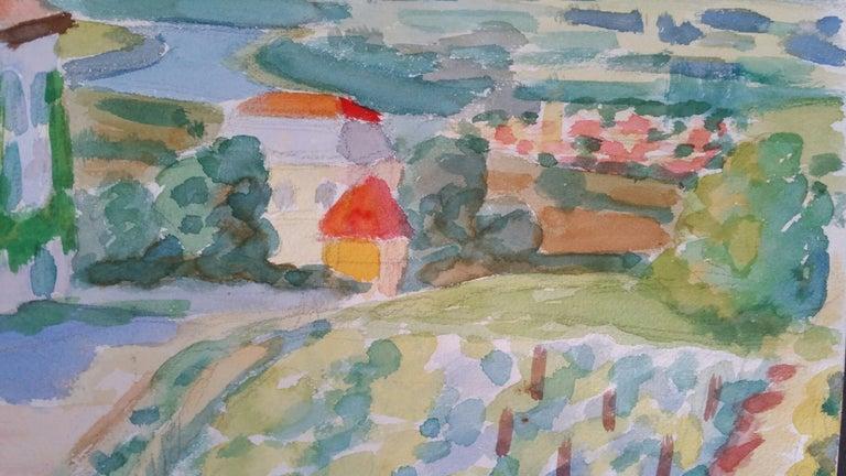 Provence Vineyard Village Landscape Post-Impressionist Signed 1962 Painting For Sale 2