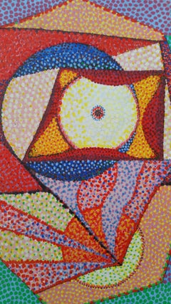 French Neo-Impressionist Pointillist Abstract Mid 20th Century Painting