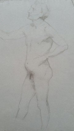 English Graphite Portrait Sketch of Male Nude, in Profile