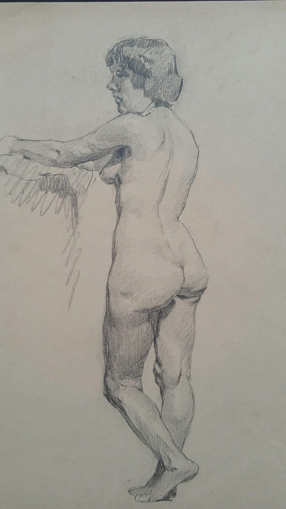 English Graphite Portrait Sketch of Female Nude, Standing