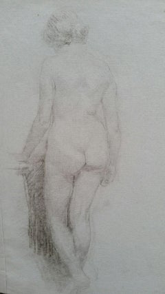English Graphite Portrait Sketch of Female Nude, Back View