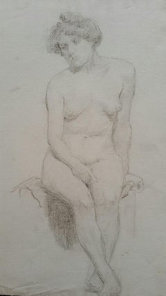 English Graphite Portrait Sketch of Female Nude, Seated