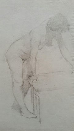 English Graphite Portrait Sketch of Female Nude, Leaning