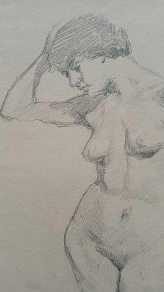 English Graphite Portrait Sketch of Female Nude, Forward Pose