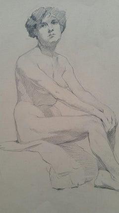 English Graphite Portrait Sketch of Female Nude, Sitting in Profile
