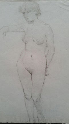 English Graphite Portrait Sketch of Female Nude, Standing Facing