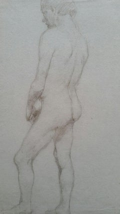 English Graphite Portrait Sketch of Male Nude, Back View