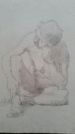 English Graphite Portrait Sketch of Male Nude, Seated