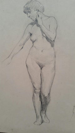 English Antique Portrait Sketch of Female Nude Standing