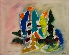 1970's French Abstract Signed Oil Painting on canvas