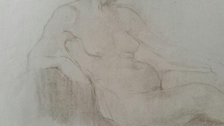English Antique Portrait Sketch of Reclining Female Nude (double sided) For Sale 1