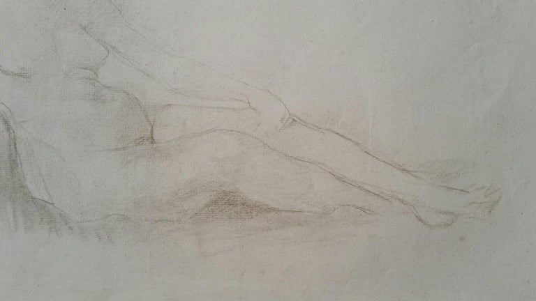 English Antique Portrait Sketch of Reclining Female Nude (double sided) For Sale 2