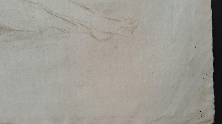 English Antique Portrait Sketch of Reclining Female Nude (double sided) For Sale 4