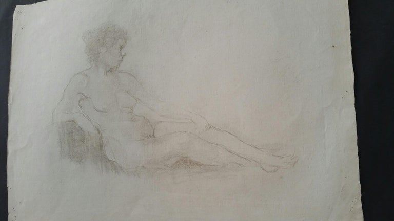 English Antique Portrait Sketch of Reclining Female Nude (double sided) - Impressionist Art by Henry George Moon