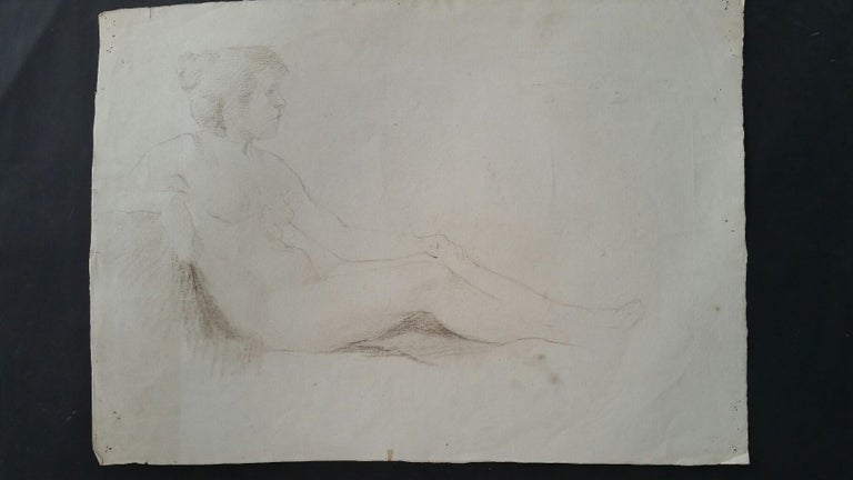 English Antique Portrait Sketch of Reclining Female Nude (double sided) For Sale 10