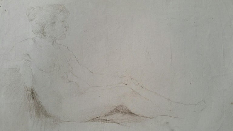English Antique Portrait Sketch of Reclining Female Nude (double sided) For Sale 8