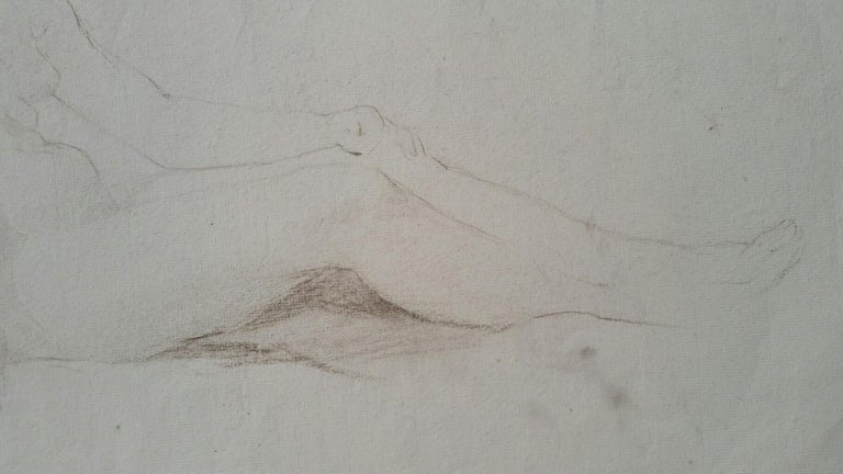 English Antique Portrait Sketch of Reclining Female Nude (double sided) For Sale 12