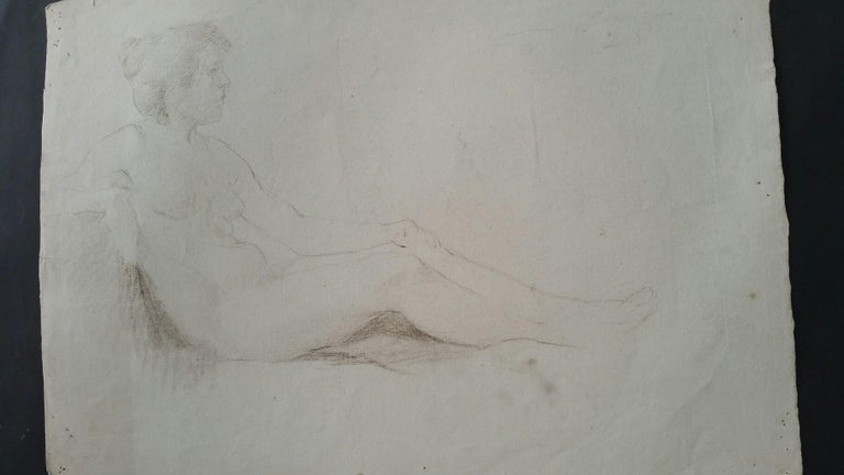 English Antique Portrait Sketch of Reclining Female Nude (double sided) For Sale 13