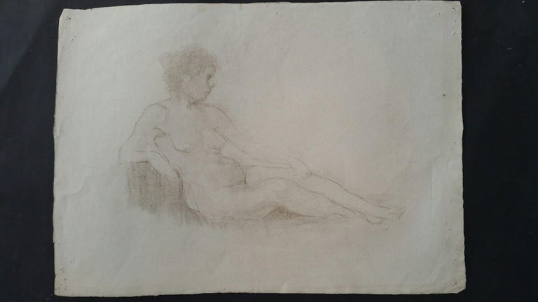 English Antique Portrait Sketch of Reclining Female Nude (double sided) For Sale 7