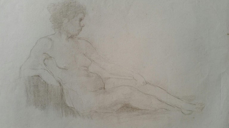 English Antique Portrait Sketch of Reclining Female Nude (double sided) - Art by Henry George Moon