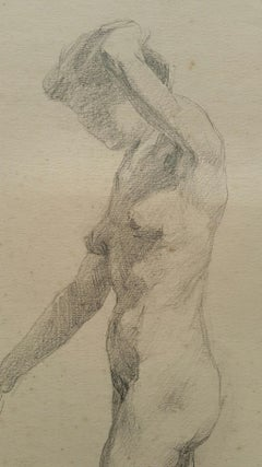 English Antique Portrait Sketch of Female Nude Leaning