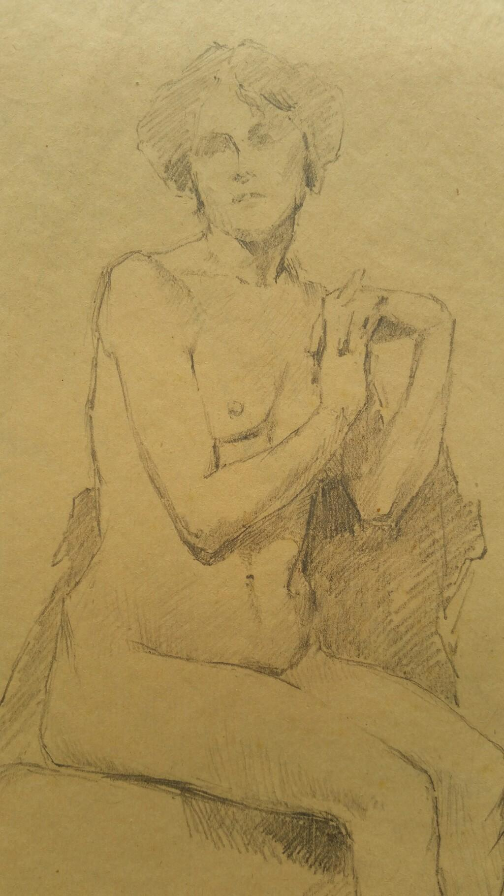 English Antique Portrait Sketch of Female Nude Seated (with additional image)