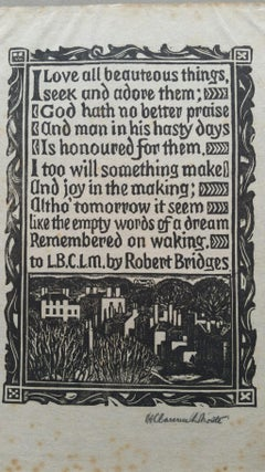 English Antique Woodcut Engraving, Signed, of Prose by Robert Bridges
