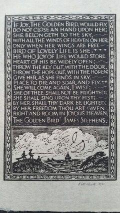 English Antique Woodcut Engraving, Signed, James Stephens Prose