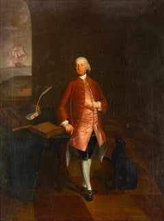 18th Century English Oil Painting Portrait of Shipping Merchant with Ship & Dog