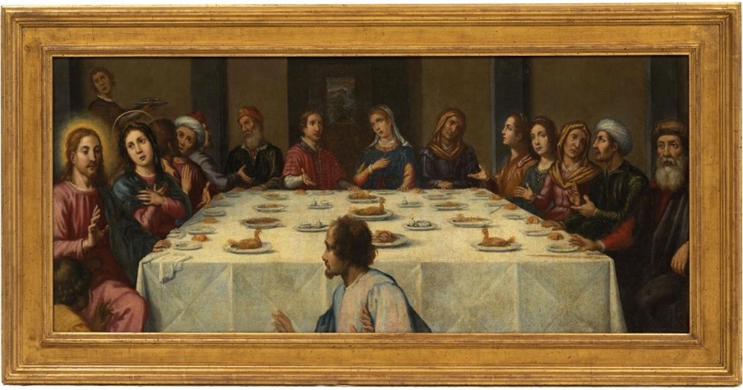 The Wedding at Cana, early 1600's Florentine Old Master Oil Painting