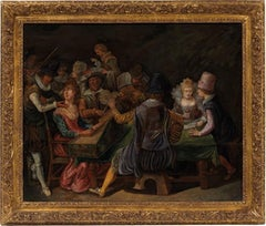 Carousers in the Tavern, Dutch Old Master 17th century oil on wood panel