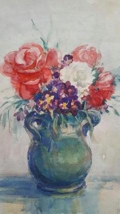 French Watercolour Ecole de Paris Mid 20th Century Floral Display
