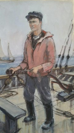 French Watercolour Breton School Mid 20th Century Fisherman