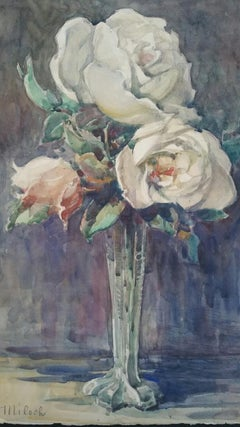 French Watercolour Ecole de Paris Mid 20th Century Roses