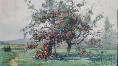 French Watercolour Ecole de Paris Mid 20th Century Apple Orchard