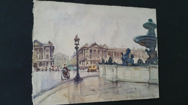 Ecole de Paris Mid 20th Century 1948 Paris Place de la Concorde For Sale 3