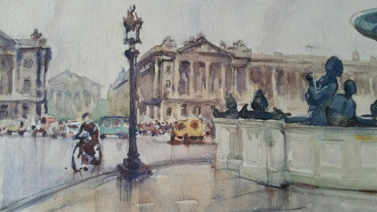 Ecole de Paris Mid 20th Century 1948 Paris Place de la Concorde - Gray Landscape Art by Henri Miloch