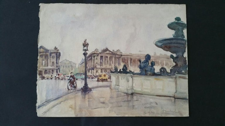 Ecole de Paris Mid 20th Century 1948 Paris Place de la Concorde - Art by Henri Miloch