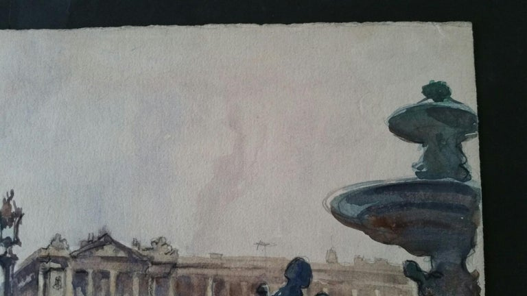 Paris: Place de la Concorde looking towards Rue Royale by Henri Miloch (1898-1979) signed lower right and dated for 16th September 1948 watercolour and gouache painting on artist's paper, unframed  Sheet:: 9.5 x 12.25 inches  Very pretty painting by