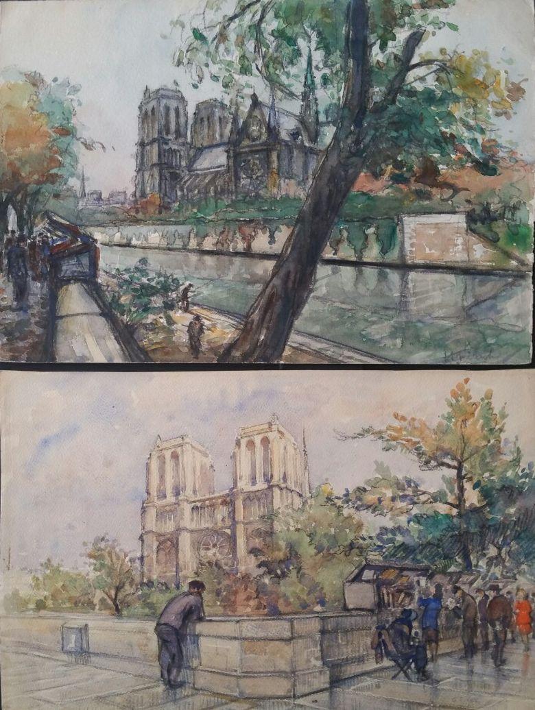 Ecole de Paris Mid 20th Century Pair of Paintings Notre Dame Paris River Seine