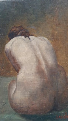Mid 20th Century French Oil Painting on Canvas Female Nude