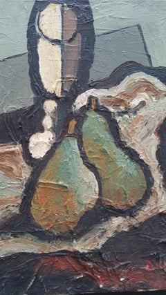 Mid 20th Century French Impasto Oil Painting on Canvas Abstract Still Life