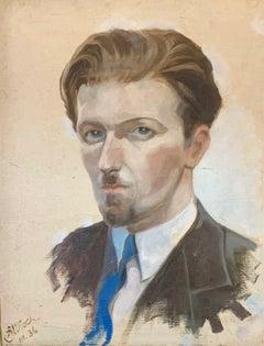 HENRI MILOCH (1898-1979) SIGNED 1930'S OIL PAINTING - PORTRAIT OF A DAPPER GENT