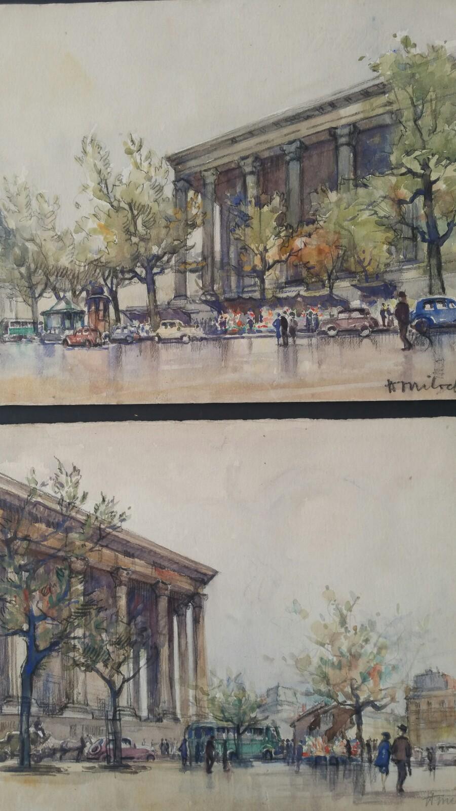 Ecole de Paris, Mid 20th Century, A Pair: L'eglise de la Madeleine