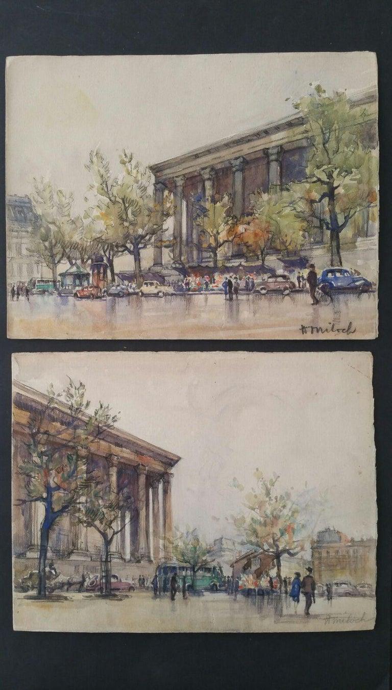 Ecole de Paris, Mid 20th Century, A Pair: L'eglise de la Madeleine  - Art by Henri Miloch