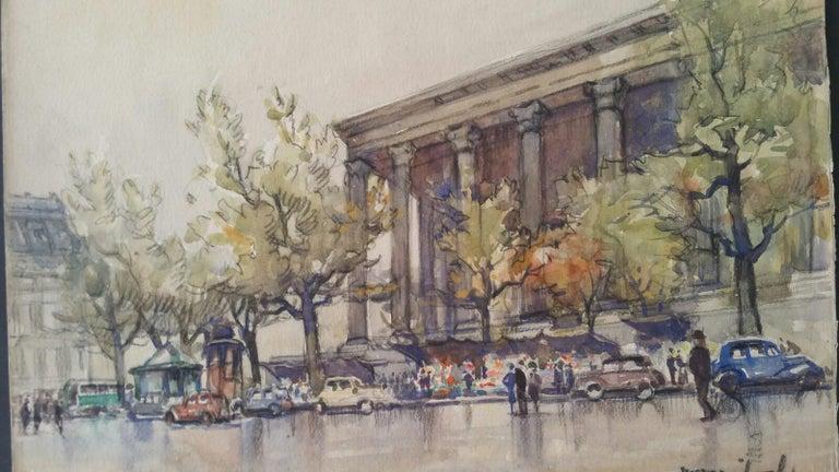 Ecole de Paris, Mid 20th Century, A Pair: L'eglise de la Madeleine  - Impressionist Art by Henri Miloch