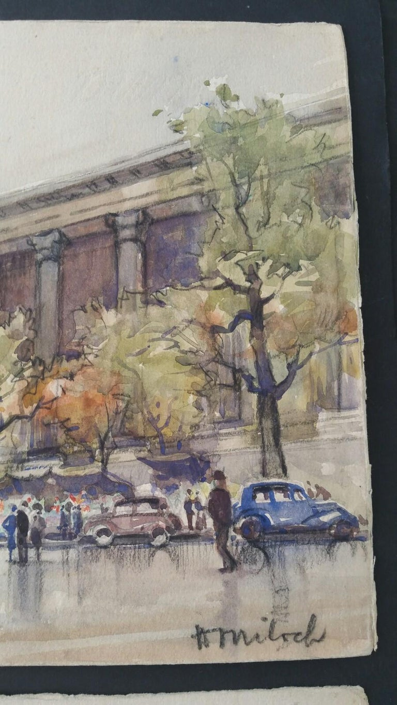 Ecole de Paris, Mid 20th Century, A Pair: L'eglise de la Madeleine  For Sale 2
