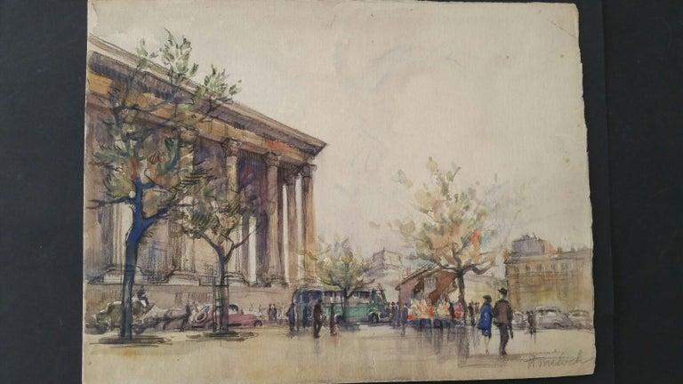 Ecole de Paris, Mid 20th Century, A Pair: L'eglise de la Madeleine  For Sale 3